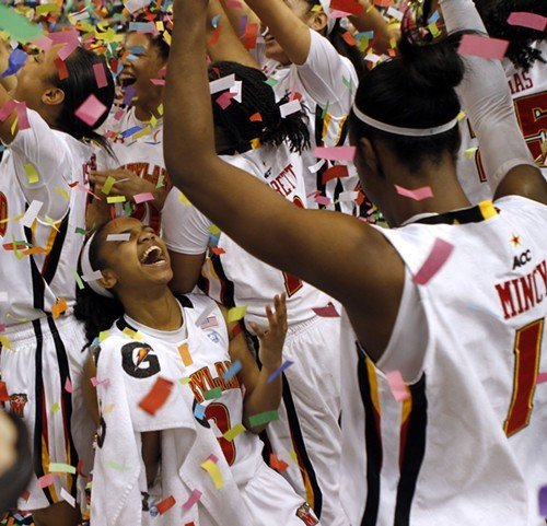 Sequoia Austin celebrates the Terrapins winning the ACC Womens Tournament.