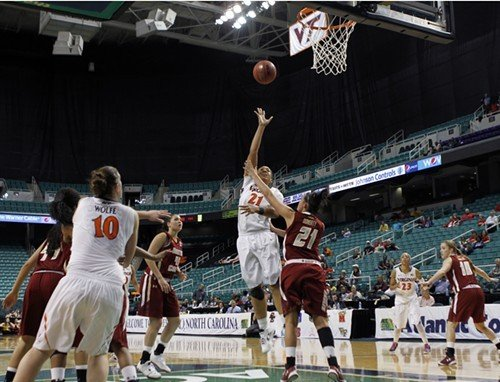 Virginia's Jazmin Pitts shoots over the Eagles defense in the first round of the ACC Women's Tournament.