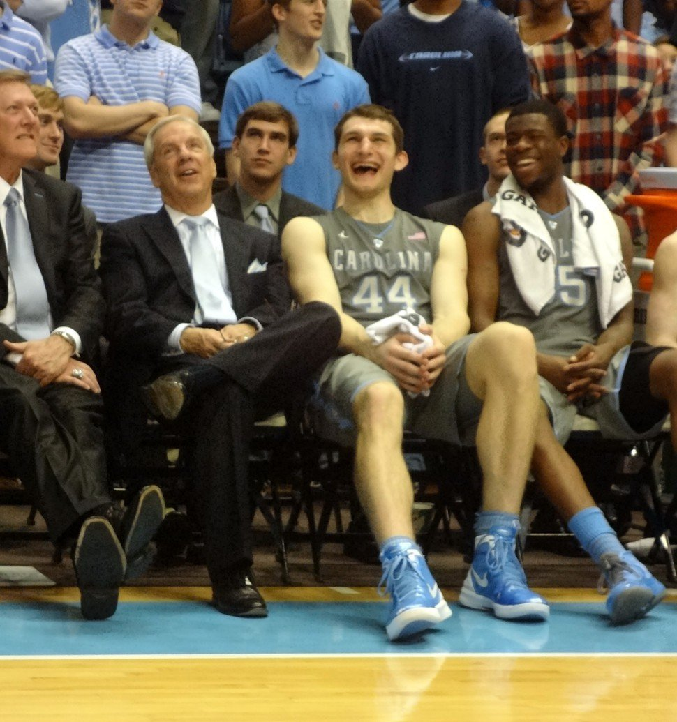 Roy Williams and Tyler Zeller share a laugh after the Tar Heels 88-64 win over Maryland