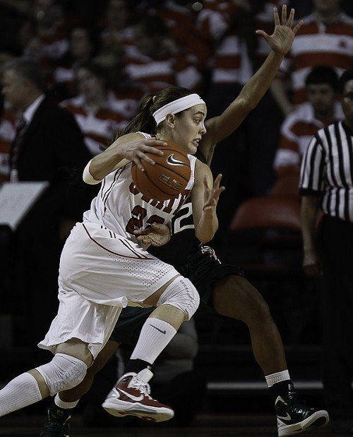 Marissa Kastanek looks for an opening in front of Miamis Krystal Saunders.