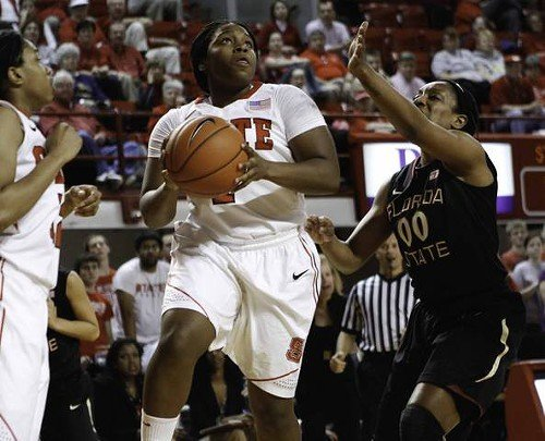 Myisha Goodwin-Coleman looks to the hoop while FSUs Chasity Clayton defends.