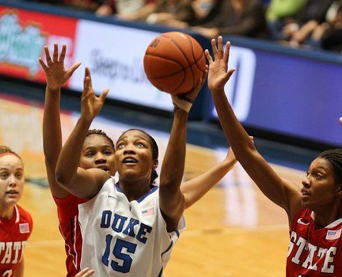 Richa Jackson attacks the basket for Duke.