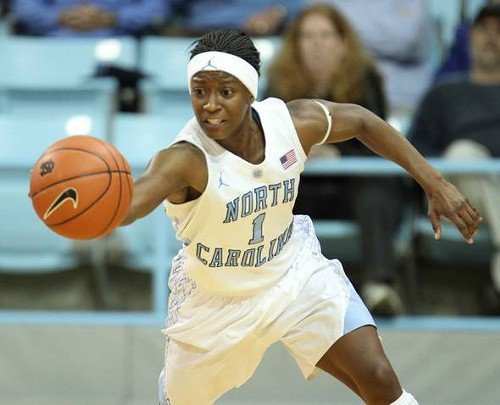 UNC guard Shela White chases a loose ball.