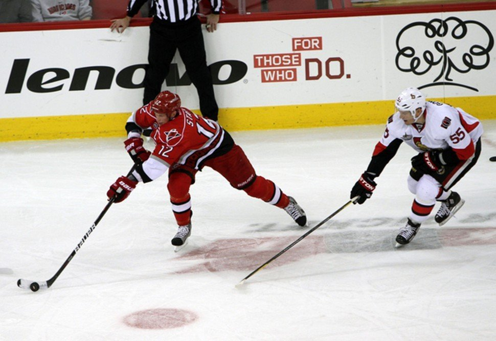 Eric Staal, seen here earlier this season against Ottawa, scored twice and added an assist to lead the Canes over Toronto in the last home game of a largely forgettable 2011.