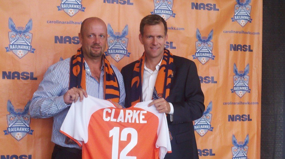Team president Curt Johnson welcomes Colin Clarke as head coach of the Carolina RailHawks