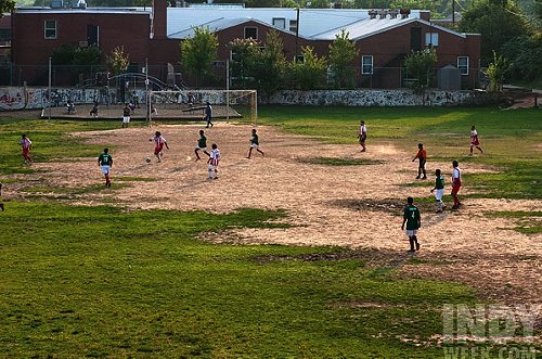 Old North Durham Park is the site of the only full-sized soccer field in downtown Durham.
