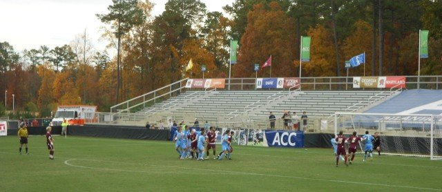 Kyle Bekker (far left) pulled a goal back for Boston College with this free kick. The ball can be seen just to the right of UNC goalkeeper Scott Goodwins head.