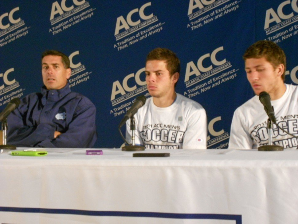 Carlos Somoano, Ben Speas and Enzo Martinez after the victory over Boston College