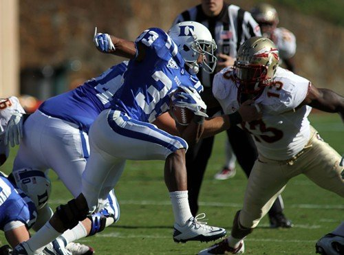 Duke running back Desmond Scott looks for an open hole last week against Florida State.