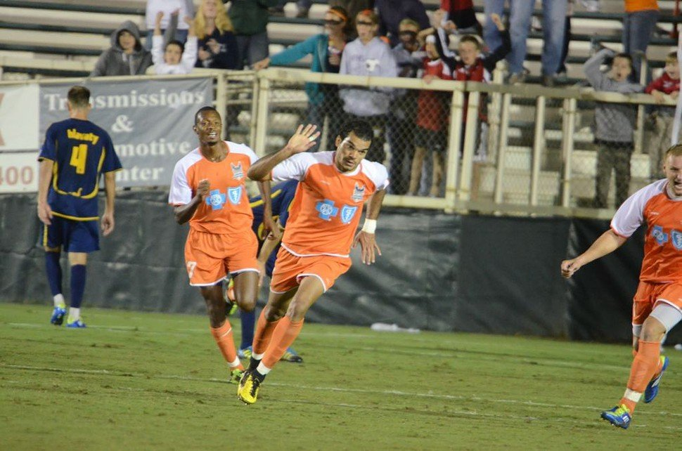 RailHawks Pablo Campos celebrates stoppage time equalizer