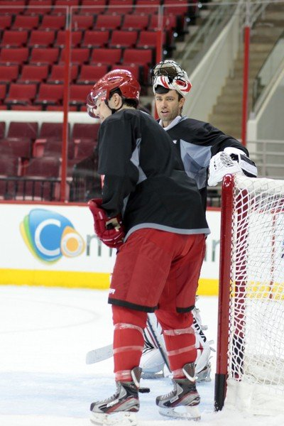Goalie Brian Boucher, seen here at a recent practice, made his Hurricanes debut in a 4-3 overtime loss at Washington.