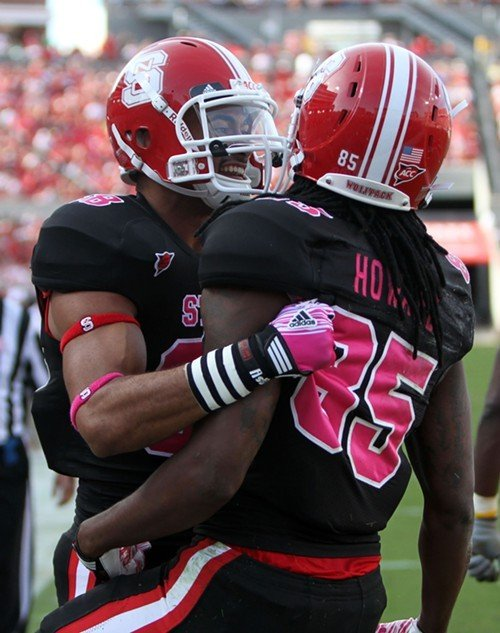 Wide receiver Steven Howard is congratulated by Quintin Payton after scoring a touchdown.