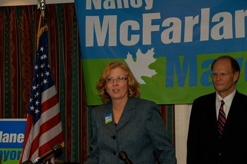 City Councilor Nancy McFarlane and Mayor Charles Meeker
