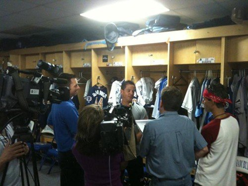 Durham Bulls manager Charlie Montoyo meets with the media in the Bulls home clubhouse, 6 September 2011.