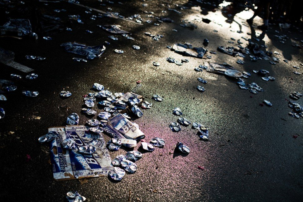 Debris on the ground during a Saturday pregame tailgate event on the Duke in 2008. In 2010, after a 15-year-old girl was found passed out in a portable toilet, the university banned the Saturday Tailgate.