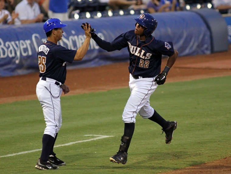 The Durham Bulls Tim Beckham rounds third base after his third-inning home run on Wednesday, August 24, 2011.