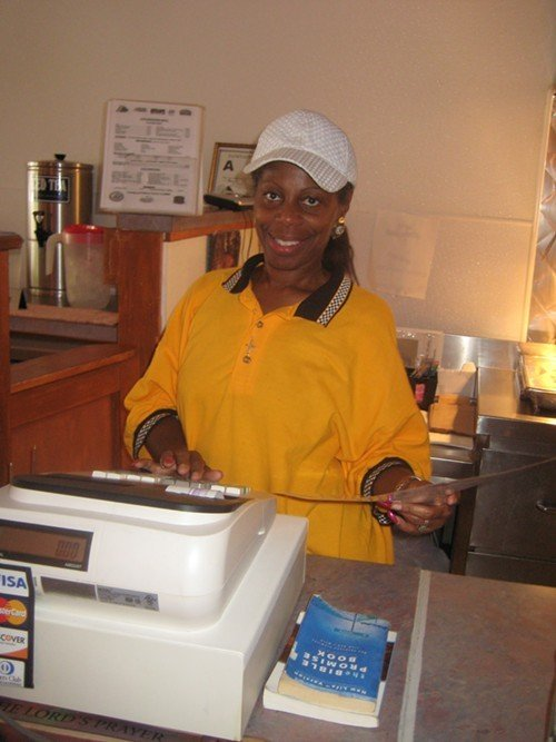 J.C.s owner, Phyllis Terry, performs one of her many roles at the restaurant.