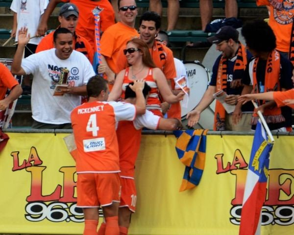Etienne Barbara enjoys love from supporters after scoring goal versus Atlanta