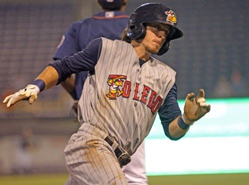 Toledos Will Rhymes rounds third in the Mud Hens win over Durham last night.