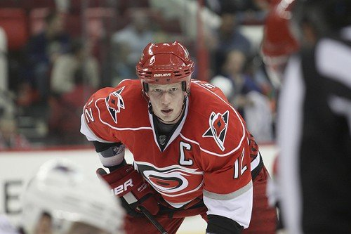 Eric Staal, seen here in an earlier game, has his playoff face on.