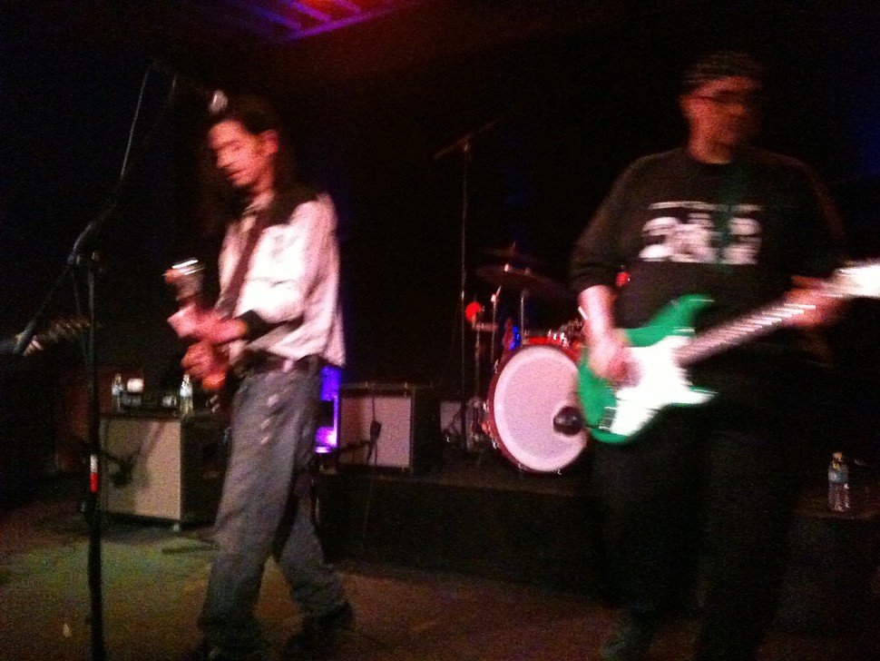 Grant Hart, left, played Friday night with The Venables