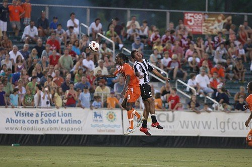 The RailHawks Gregory Richardson, left, battles for the ball in a game against Rochester last August.