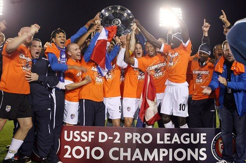 The Puerto Rico Islanders celebrate winning the first and only USSF-D2 Pro League title, after defeating the Caroina RailHawks in Cary, N.C. on Oct. 30.