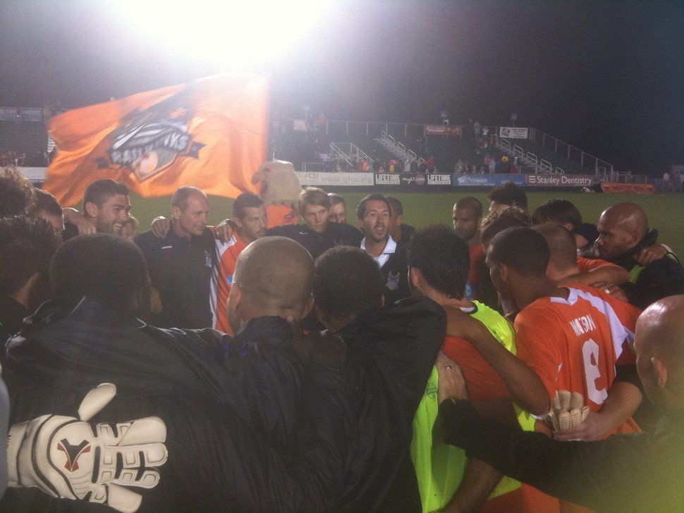 After the victory over Montreal two weeks ago, the players and coaches huddle on the field.