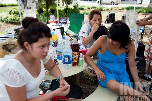 Loida Ginocchio-Silva (in blue) and the other Dream Team Girls were on a hunger strike in downtown Raleigh in June.