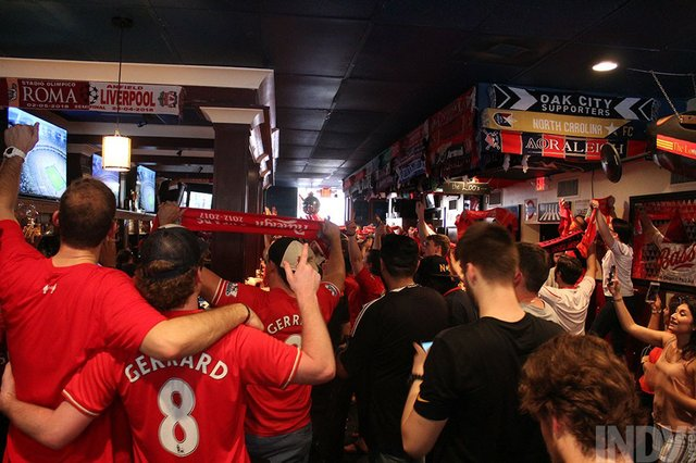 Hundreds of Liverpool FC Fans Crammed Into a Raleigh Bar to Watch a
