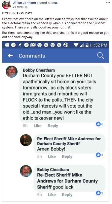 Durham Sheriff Mike Andrews Denies Saying Amen To A Racist