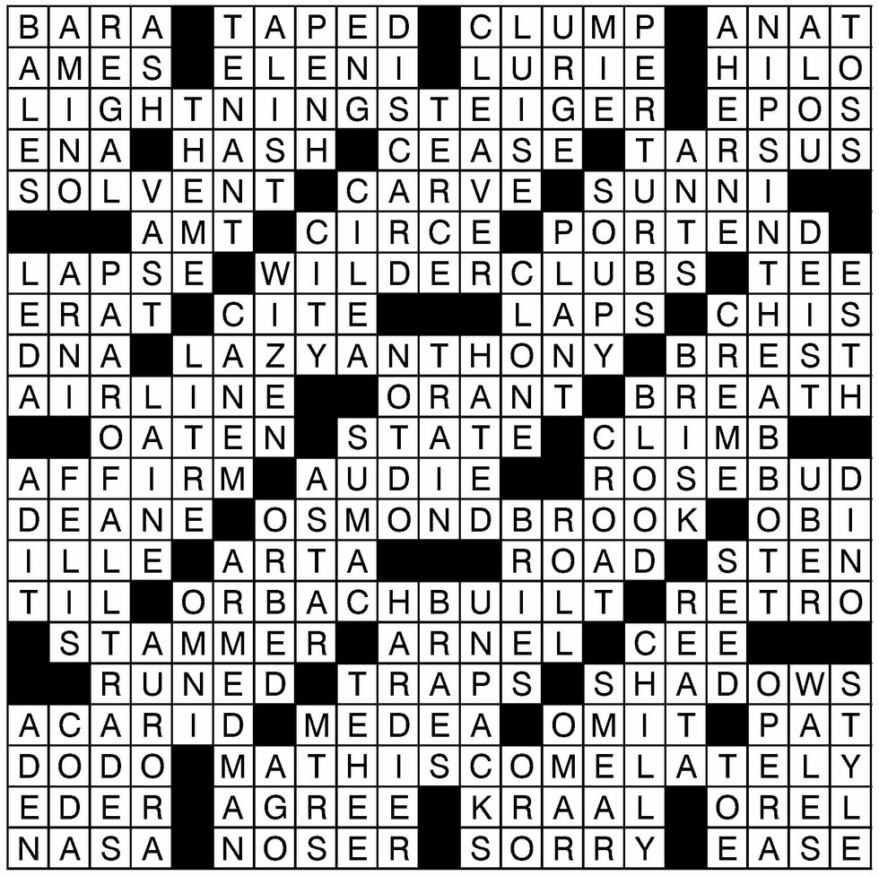 October 3, 2018 Crossword Solution