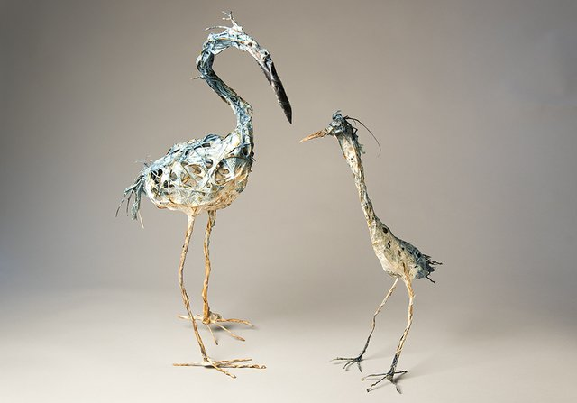 Two Herons  by Bryant Holsenbeck mixed media sculpture of recycled materials for the exhibition We Are The Animals at Craven Allen Gallery May 18 - June 29.jpg