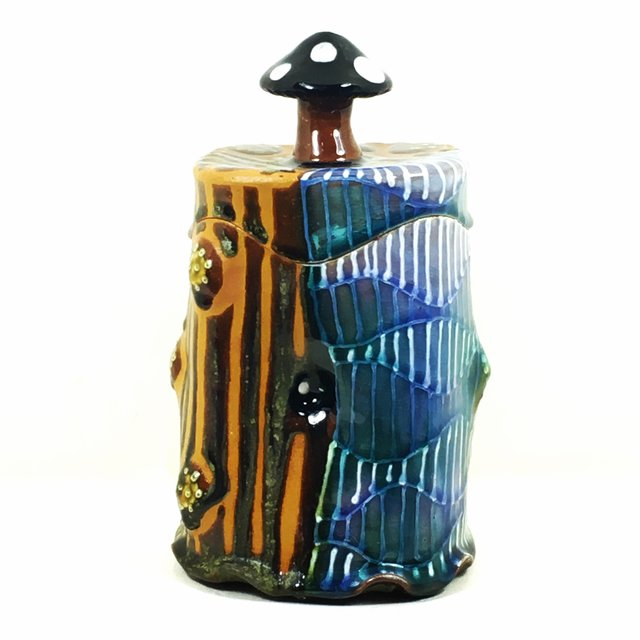 Mushroom Topped Jar by Ronan Peterson, red earthenware,  8 x 4 x 4 at Craven Allen Gallery.jpg